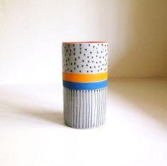 Ceramic Dot Stripe Line Vase / jen e