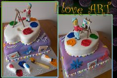 I love Art! - This cake was made for a little girl who loves her art easel.  So we made her painting at her easel.  TFL