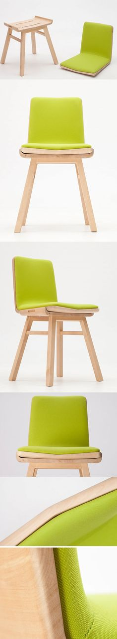 The Dividi chair, as the name suggests is a clever design that divides into two distinct seating solutions, transforming from a backed chair to a stool and traditional Japanese zaisu. Despite being highly utilitarian, it's beautifully constructed. Birchwood with its natural fragrance and light color gives it a Scandinavian look with wood grains detail thanks to the natural processing.