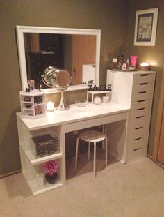Related posts: IKEA ALEX Gray Drawer unit Office desk with IKEA ALEX drawer units as base. Except use as a makeup vanity i… IKEA LACK White Wall shelf unit Make-up room inspiration! I love this vanity in my makeup room! Room Ideas Bedroom, Bedroom Decor, Ikea Room Ideas, Bedroom Office, Make Up Tisch, Vanity Room, Vanity In Closet, Vanity Mirrors, Makeup Room Decor