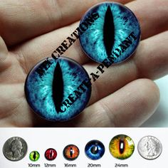 Taxidermy Glass Eyes - 16mm - Blue Dragon Eye Cabochons for Steampunk Jewelry and Pendant Making $7.50