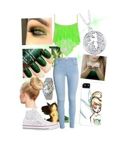 """""""Tinker Bell"""" by mkm13 ❤ liked on Polyvore featuring Disney, WearAll, Converse, women's clothing, women, female, woman, misses and juniors"""