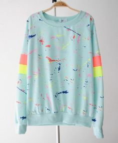Painted Long Sleeves Sweatshirt - Sweatshirts & Hoodies - Clothing