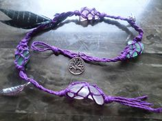Purple witches ladder with sea glass. by LeftHandedWhimsey on Etsy