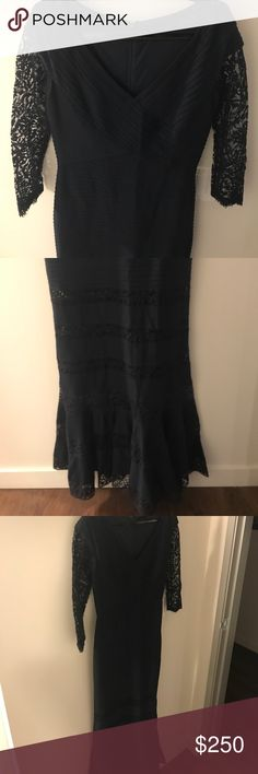 Tadashi Shoji Navy Lace Dress Beautiful lace detailed Tadashi long dress. Flattering Deep V Neck with 3/4 length sleeves and gorgeous small train with lace details. Makes a gorgeous cocktail or bridesmaid dress! Size Small. Tadashi Shoji Dresses High Low