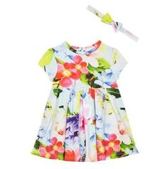 a225be5fd0bece Details about Ted Baker Baby Girls Dress with Headband Floral Pink Blue Designer  12-18 Months