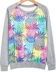 Grey Long Sleeve Pineapple Print Sweatshirt - Sheinside.com