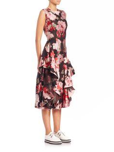 A McQueen floral ruffle dress.
