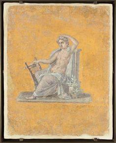Fragment de peinture murale : Apollon. 62-79 ap J.-C. / époque romaine - 4ème style. Pompéi villa de Julia Félix