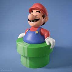 Oh no, Mario has become fat after eating too many mushrooms, and now he's stuck in one of those green pipes! ㋡  Available as a 3D print: http://shapeways.com/shops/sevensheaven  Portfolio: http://metinseven.com