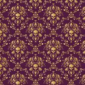 Purple and Gold Damask distressed by elizabeth, Spoonflower digitally printed wallpaper