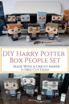 Learn how to make these fun DIY Harry Potter Box People out of Cardstock without needing glue or tape. Using your Cricut (+ Free Cut files) Classe Harry Potter, Mundo Harry Potter, Theme Harry Potter, Harry Potter Birthday, Harry Potter Diy, Best Friend Birthday Present, Good Birthday Presents, Harry Potter Karten, Potter Box