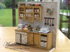 Miniature Dollhouse Kitchen Old Style, Scale 1 : 12