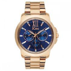 Ρολόι Jcou της σειράς Blue Sea απο ροζ επιχρυσωμένο ανοξείδωτο ατσάλι 3d5bff6e842