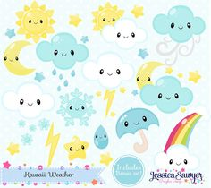 BUILD A BUNDLE SALE! Were having a party to celebrate summer and youre invited! $1 Downloads when you buy 20 until 6/23! **Bundle 20 sets for $20 with code SUMMERBUNDLE17** Get started with new arrivals --> http://etsy.me/1BJ8ZvJ ----- Set of kawaii cleaning clipart including partially cloudy daytime, partially cloudy night, moon, stars, sun, rain, wind, a snowflake, a raindrop, snow, a rainbow, and lightning. { WHATS INCLUDED } - (28) individual clip art images in...