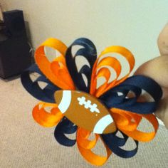 Chicago bears bow I made for Hailey.