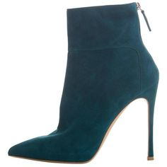 Preowned Gianvito Rossi Suede Bootie ($450) ❤ liked on Polyvore featuring shoes, boots, ankle booties, multiple, gianvito rossi boots, suede ankle bootie, suede boots, back zipper boots and short boots