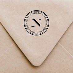 Return Address Stamp Monogram Address Stamp by fairmontandgrove