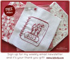 """Would you like the pattern for my new """"2015 Redwork Tulips""""? Sign up for my free Friday Newsletter and it's yours as a gift!"""