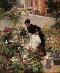 Victor Gilbert - Jeune femme dans le jardin fleuri