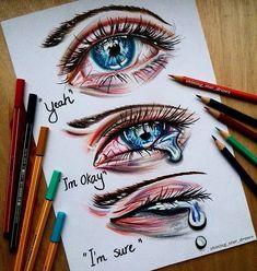 Sad Drawings, Dark Art Drawings, Amazing Drawings, Art Drawings Sketches, Amazing Artwork, Deep Drawing, Drawing Stars, Crying Eye Drawing, Drawing Drawing