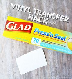 Vinyl Transfer Glad Pressn Seal Hack at gladproducts walmart Silhouette Curio, Silhouette Vinyl, Silhouette Cameo Projects, Silhouette School, Silhouette Portrait, Vinyl Crafts, Diy And Crafts, Cricut Vinyl Projects, Cricut Stencils