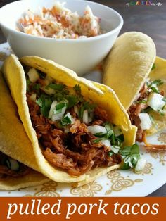 Quick and easy pulled pork tacos. We eat a version of these at least once a week and that& almost not often enough! [My Craftily Ever After] Pork Recipes, Crockpot Recipes, Cooking Recipes, Healthy Recipes, Healthy Meals, Easy Recipes, Easy Pulled Pork, Pulled Pork Tacos, Gourmet