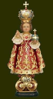 Infant of Prague statue, Child Jesus, woodcarving, hand-painted religious statues