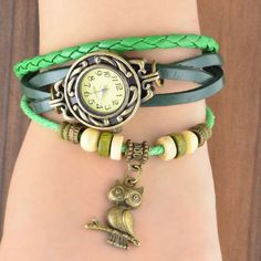 Vintage Multilayer Faux Leather Strap Band Wrap Women Bracelet Quartz Wrist Watch