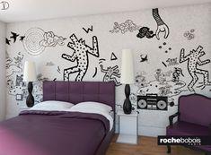 #Camera da #letto con #carta da parati di #Keith #Haring, versione in #bordeaux.