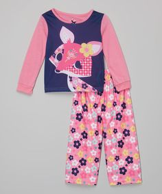 Loving this Pink & Blue Fancy Fox Pajama Set - Infant, Toddler & Girls on #zulily! #zulilyfinds