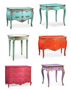 Bright-Pastel-French-Furniture-By-Euro-Antics-Keywords:  Brightly Painted Furniture, Floral Interiors, Decorating With Color, Pastel Interiors