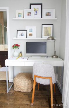 Even though we have a small master bedroom, I was able to add a little work station in the corner with a desk. Come check out our new office! Small Bedroom Office, Bedroom Office Combo, Small Master Bedroom, Guest Room Office, Trendy Bedroom, Room Ideas Bedroom, Bedroom Desk, Bedroom Layouts, Home Decor Bedroom