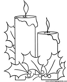 christmas pictures to print and color free | Christmas pictures to color - Holiday Candle