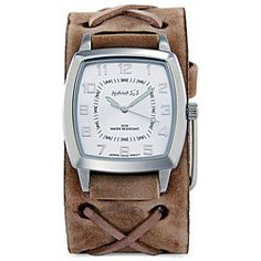@Overstock - Keep track of time with this rugged mens leather cuff watch. The vintage-style brown leather cuff with its woven X detail contrasts beautifully with the stainless-steel case and white dial for a look that any man is sure to enjoy.http://www.overstock.com/Jewelry-Watches/Nemesis-Mens-Signature-Brown-Leather-Cuff-Watch/5299163/product.html?CID=214117 $49.99