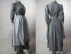 Day Dress (Wrapper) with Calico Apron: ca. 1890's, gingham dress, buttons close front and cuff.