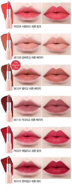Makeup Vs Etude House Dear My Blooming Lips Chiffon lipstick // Lily Maymac's pick is so pretty!Etude House Dear My Blooming Lips Chiffon lipstick // Lily Maymac's pick is so pretty! Korean Makeup Tips, Korean Makeup Tutorials, Asian Makeup, Makeup Inspo, Makeup Inspiration, Makeup Ideas, Fashion Inspiration, Lip Gloss, Lily Maymac