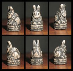 Carved Wooden Rabbit on Segmented Base Artisan's by elfWorksLane, $35.00