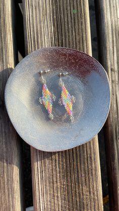 Chubbeadrings Varicolored Elegant Rhombus Beaded Earrings By Chubbeadrings by chubbybeadedearrings on Etsy