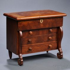 Miniature Classical Cherry Lift-top Chest over Three Drawers | Sale Number 2680B, Lot Number 482 | Skinner Auctioneers