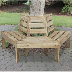 Forest Garden Timber Half Round Tree Seat