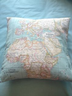 Homemade map of the world pillow