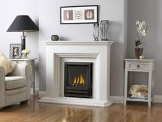 Fireplace Fire Surround 3 Step in White Limestone including Gas or Electric Fire Fireplace Surrounds, Fireplace Design, Gas Fires And Surrounds, Focus Fireplaces, Fireplace Ideas, New Living Room, Living Room Decor, Fire Pit Chairs, Fireplaces