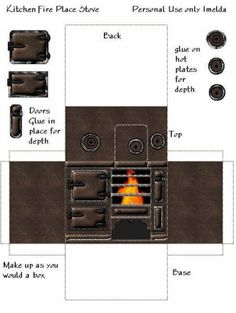 Kitchen fireplace stove By FATNA in tutorials Cardboard Dollhouse, Diy Dollhouse, Dollhouse Miniatures, Paper Doll House, Paper Houses, Paper Furniture, Barbie Furniture, Vitrine Miniature, Miniature Dolls