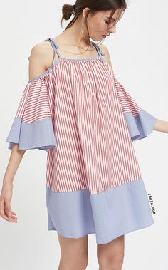 Tie Shoulder Striped Flute Sleeve Dress Dresses For Pregnant Women, Casual Dresses For Women, Clothes For Women, Simple Dresses, Short Dresses, Summer Dresses, Preppy Outfits, Girl Outfits, Demin Dress