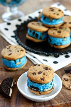 Cookie Monster Ice Cream Sandwiches ~ Erica's Sweet Tooth