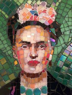 Unique Frida Kahlo mosaic portrait by moldau on Etsy Stained Glass Birds, Stained Glass Panels, Mirror Mosaic, Mosaic Wall, Owl Mosaic, Frida Art, Mosaic Portrait, Mosaic Madness, Recycled Art