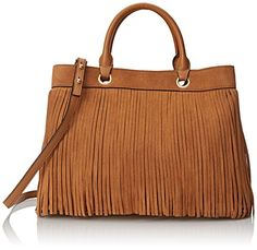 Women's Top-Handle Handbags - Milly Essex Suede Fringe Tote Convertible Top Handle Bag Caramel One Size -- Read more at the image link. Fashion Handbags, Purses And Handbags, Leather Handbags, Brown Purses, My Bags, Handbag Accessories, Reusable Tote Bags, Shoe Bag, Convertible