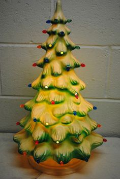 vintage Union blown mold Christmas tree from Small Christmas Trees, Decorating With Christmas Lights, Christmas Past, Retro Christmas, Xmas Decorations, White Christmas, Christmas Gifts, Vintage Ceramic Christmas Tree, Vintage Holiday