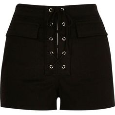 River Island Black lace-up high waisted shorts Black High Waisted Shorts, High Rise Shorts, Black Denim Shorts, Black Pants, Stage Outfits, Cool Outfits, Elegante Shorts, Smart Shorts, Sewing Shorts